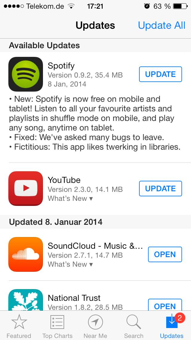 Spotify free mobile App store